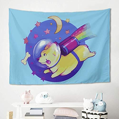 N\A Rainbow Space Dog Tapiz Azul Colgante de Pared Ropa de Cama Tapices Mantas Esteras de Picnic Mantel Fondo de sofá para Sala de Estar Dormitorio Decoración de la casa de café Blanco