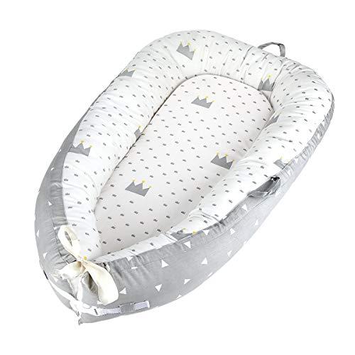 Reducteur de lit bebe Cocon, réducteur Lit bébé, Baby Nest cocoon pour nouveau-né nourrisson coussin pour bébé couffin de voyage portable (crown gray)