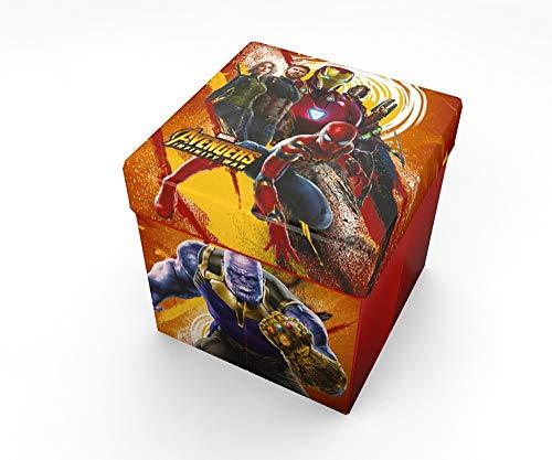 Star  Marvel Avengers Art. Code- 54670 Pouf Contenitore con Cuscino Stampato, Dimensioni 32 x 32 cm