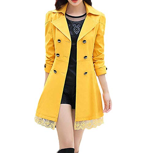 WOCACHI Women Coats Ladies Double Breasted Pea Coat Elegant Winter Lapel Wool Coat Trench Jacket Overcoat Outwear Yellow