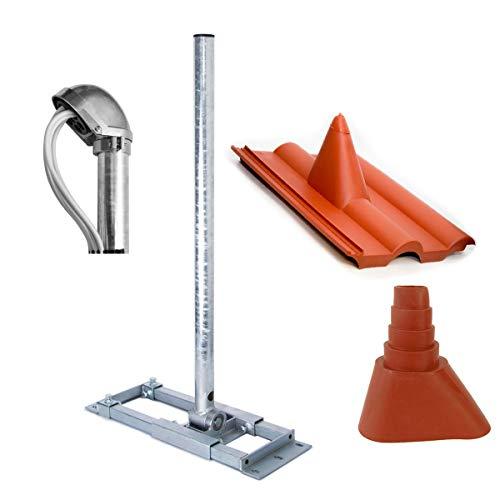 PremiumX Deluxe X90-48 Dachsparrenhalter 90 cm Mast SAT Sparren Dach-Halterung mit Kabeldurchführung Dach-Abdeckung Frankfurter Dach-Ziegel Gummi-Manschette rot ALU-Mastkappe