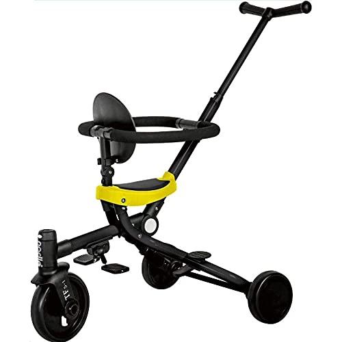 NBgycheche Triciclo Trike Cochecito de bebé Ligero Multifuncional Cochecito de Dos vías Arteficto Antideslizante Artifact Push Triciclo Rojo Plegable (Color : Yellow)