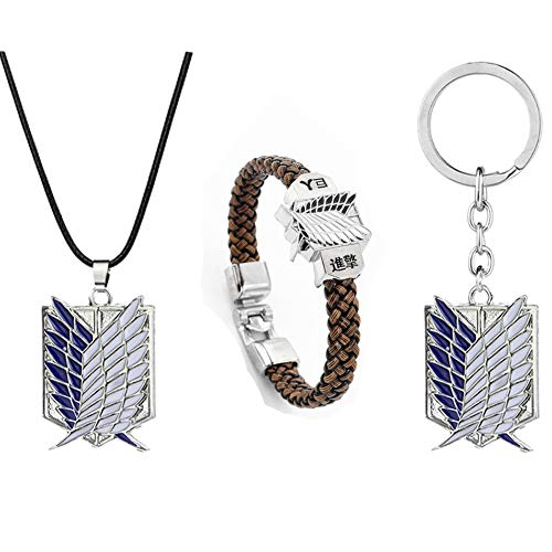 SUPFANS Anime Attack on Titan Necklace Bracelet and Keychain Survey Corps Pendant Braid Wristband & Key Ring (Style-A)