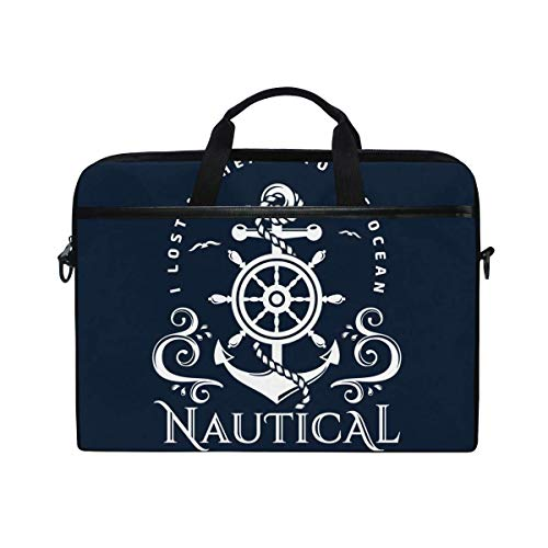 Laptop Sleeve Case,Laptop Bag,Nautical Anchor Rudder Water Briefcase Messenger Notebook Computer Bag with Shoulder Strap Handle,29×40 CM/15.6 Inch