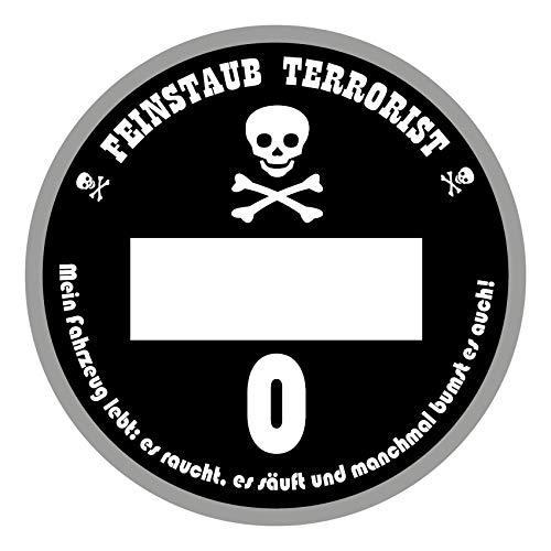 Funsticker Spaßplakette Feinstaubterrorist Plakette Auto Aufkleber Kfz Sticker TÜV Feinstaub Terrorist Tuning Diesel Selbstklebend R100