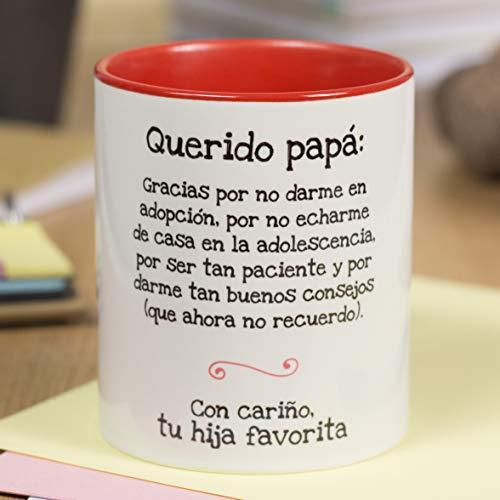 La Mente es Maravillosa - Taza con frase y dibujo divertido (Querido papá, gracias por no darme en adopción.) Regalo original para PAPÁ
