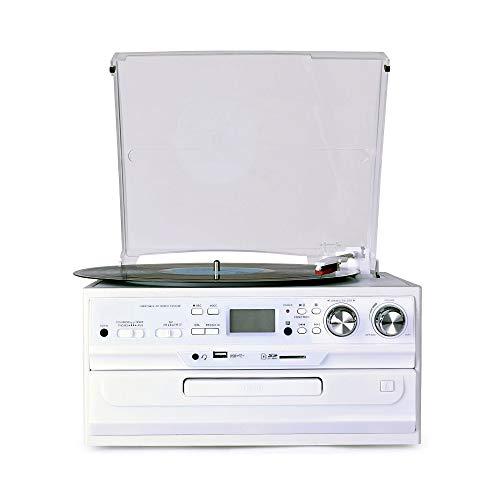Magasin Damai Appareil Multifonctions De Disque Vinyle Moderne La Radio Européenne CDFM Disque U Carte SD Lecteur Phonographe LP Son Rétro Modèles Vintage White