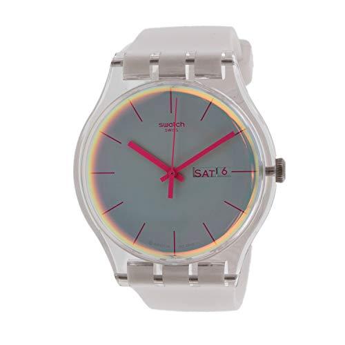Swatch Women's Polawhite SUOK713 - Reloj de pulsera de silicona mate blanco de cuarzo