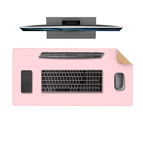 """YSAGi Multifunctional Office Desk Pad, Ultra Thin Waterproof PU Leather Mouse Pad, Dual Use Desk Writing Mat for Office/Home (31.5"""" x 15.7"""", Cork+Pink)"""