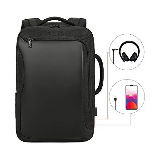 Xnuoyo Business Laptop Rucksack, Wasserdicht Notebook Backpack, 15,6 Zoll Diebstahlsicherung Schulrucksack mit USB-Ladeanschluss und Kopfhöreranschluss für Jungen/Mädchen/Männer/Frauen