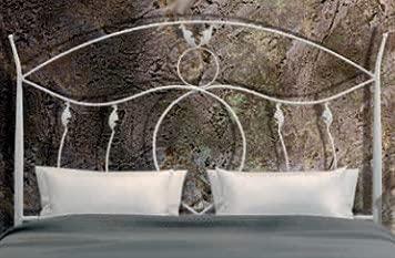 Hogares con Estilo - Cabecero de Hierro Forjado artesanalmente en España Estilo Antiguo Estilo Antiguo. para Cama de 120 cms Modelo ASTIGI Color Negro PATINADO EN Azul