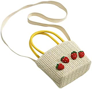 TOOGOO Summer Straw Hand Bag Women Small Woven Bohemian Crossbody Messenger Bag Cute Beach Shoulder Bags Strawberry White