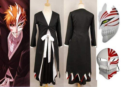 Sunkee Japanische Anime Bleach Ichigo Kurosaki Cosplay Kimono Mantel + Ichigo Kurosaki Maske Set, Größe XXL:(Größe 175-180cm,Gewicht 70-80kg)