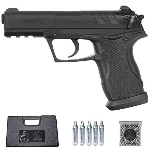 Ecommur. C15 gamo blowback | Pistola de Aire comprimido semiautomática (munición Dual: bb's + perdigones) Calibre 4.5mm + maletín + balines y CO2