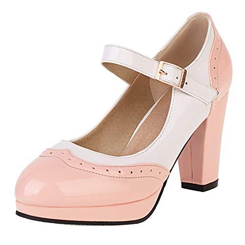 Kaizi Karzi Femmes Closes Toe Mary Jane Chaussures Mode Hauts Talons Bloc Escarpins Lolita Escarpins Fête Chaussures Pink Size 37 Asiatique