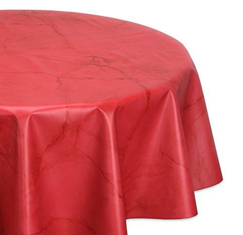 Wachstuchtischdecke glatt abwischbar OVAL RUND ECKIG, Marmorstein Wachstuch Garten Tischdecke, Größe und Farbe wählbar (Rund 130 cm, Rot)