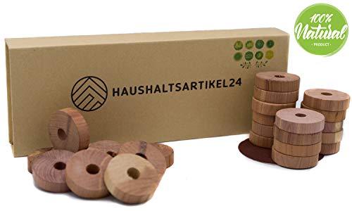 Haushaltsartikel24 sofortiger Mottenschutz - 24x Ringe - 100% Bio Naturprodukt - Zedernholz, Langlebige Mottenabwehr / Schutz vor Kleidermotten - chemiefreie Mottenfalle im Kleiderschrank