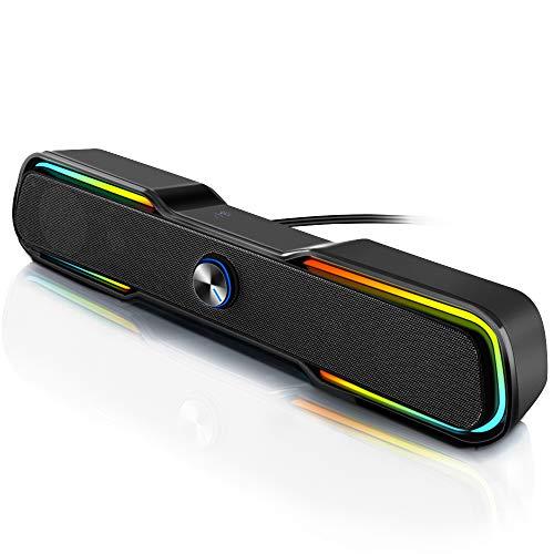 ARCHEER Barre de Son PC, Enceinte PC Gamer Enceintes USB 2.0 RGB Filaire avec Prise Jack 3.5mm Haut Parleur PC Gaming avec Lumineuse et Volume Contrôle pour TV PC Ordinateur de Bureau Home-Cinéma