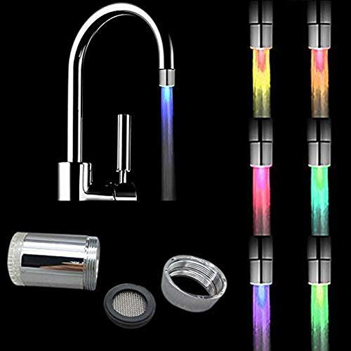 2 pezzi Acqua rubinetto LED colorato,7 Colori Rubinetto Che Cambia LED Acqua Bagliore Di Luce Cucina Bagno Rubinetto