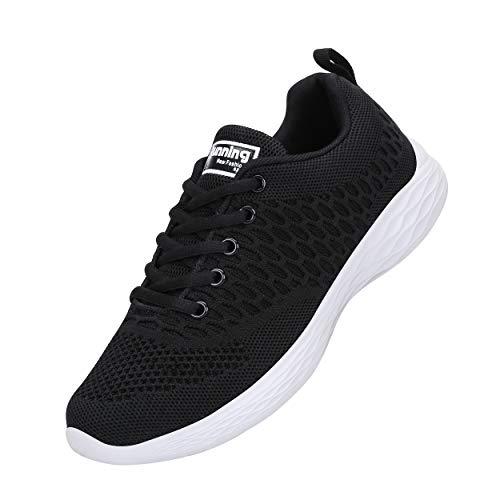 CXWRZB Mujer Gimnasia Ligero Sneakers Zapatillas de Deportivos de Running para Negro Blanco 39 EU
