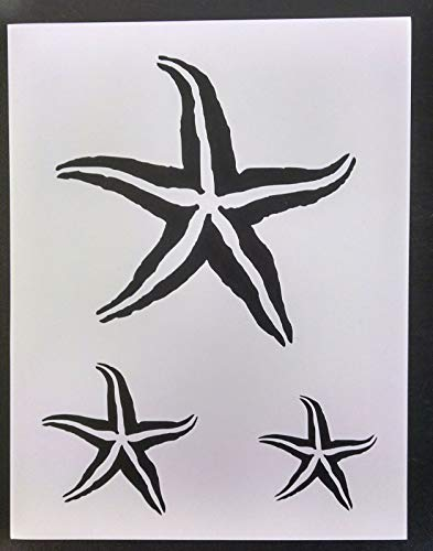 Reusable Sturdy Stencil Starfish Star Fish Seashell Sea Shells Multiple 8.5' x 11' Stencil Logo Cut Stencil Sheet (not Paper) Arts and Crafts Material Scrapbooking for Airbrush Painting Drawing