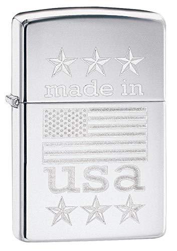 Zippo feito nos EUA com isqueiro para bandeira, cromo altamente polido, tamanho único