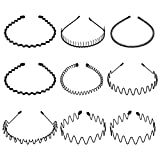 Auxsoul 9PCS Metal Hair Hoop Unisex Wavy Headband Metal Hair Bands Ordinary Headwear Hair Flexible Hair Band Accessories for Women and Men