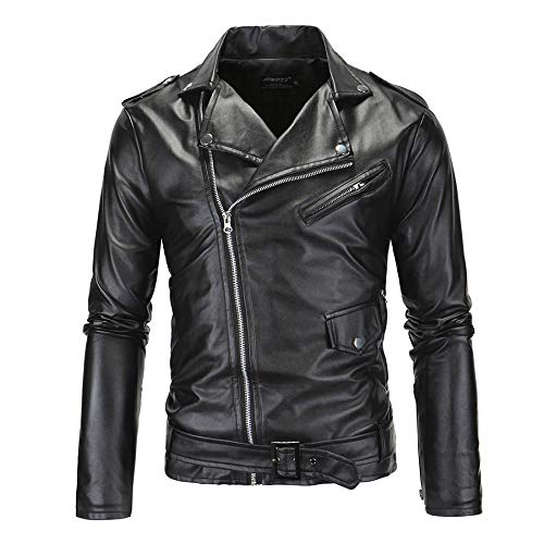 Comeon Mens Leather Jacket Causal Belted Design Slim Fit Lapel Collar PU Leather Biker Zipper Coat Cool Black Motorcycle Jackets (US XXL (Tag 4XL))