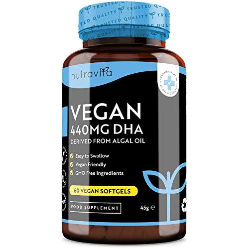 Suplementos Veganos de DHA - Cápsulas Blandas de ácido Docosahexaenoico De Aceite De Algas - 440 mg por 2 Cápsulas - 60 Cápsulas Blandas de DHA Prenatal - Elaborado en el Reino Unido por Nutravita