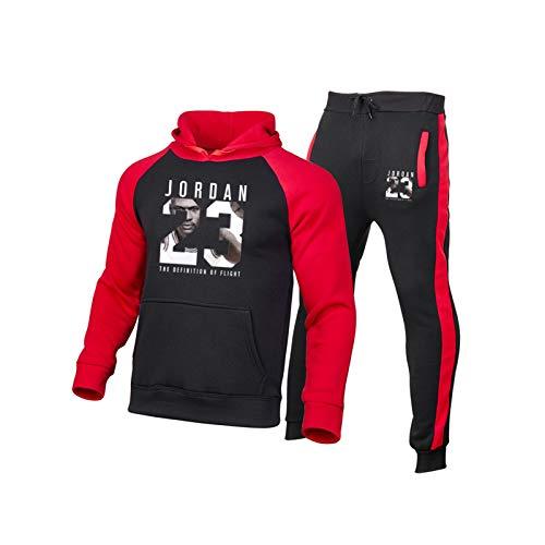 FIFE Juego de chándales de Baloncesto Jordan - 2021 Nuevo suéter de Sudadera con Capucha 3D Impresas de Ropa Deportiva con Fans Sweatshirt / 23# Red-XXL