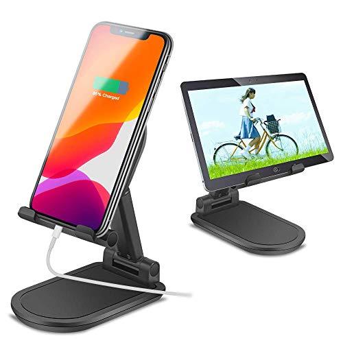 Asika スマホスタンド 卓上 ホルダー 角度高さ調整可能 滑り止め 折りたたみ式 電話スタンド 便利充電 アルミ合金素材 タブレットPCスタンド iPhone/iPad/Android 4-10インチ市販機種対応