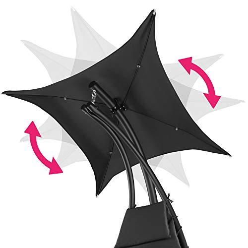 TecTake 800699 Hängeliege mit Gestell und Sonnendach mit UV Schutz, 195 x 118 x 202 cm, ergonomisch geformte Liegefläche, inkl. Sitz- und Kopfpolster – Diverse Farben – (Schwarz | Nr. 403074) - 5