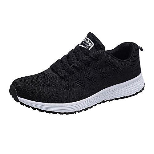 MORCHAN Mode Femmes ronde en maille lanières croisées Chaussures plates Chaussures de course Chaussures Casual(EU:39,Noir)