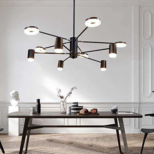 PADMA LED Kronleuchter Schwarz mit 10 Flammig, 40W Hängelampe, Vintage Pendelleuchte Einstellbar, 3000K Warmweiß 10 * 320 Lumen für Wohnzimmer Schlafzimmer Küche Esszimmer Büro