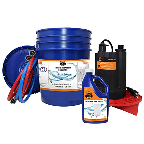 Chromex Tankless Water Heater Flush Kit with Certified Liquid Descaling Solution and 1/6HP Extra Strength Pump