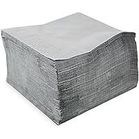 Morigami Servilleta 40x40, 2 capas, pliegue 1/4, 100 servilletas, 2 capas lisa con cenefa, Gris Etain