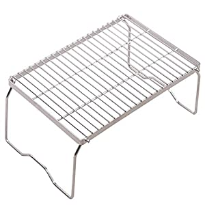 REDCAMP Folding Campfire Grill 304 Stainless Steel Grate, Heavy Duty Portable Camping Grill with Legs Carrying Bag, Large