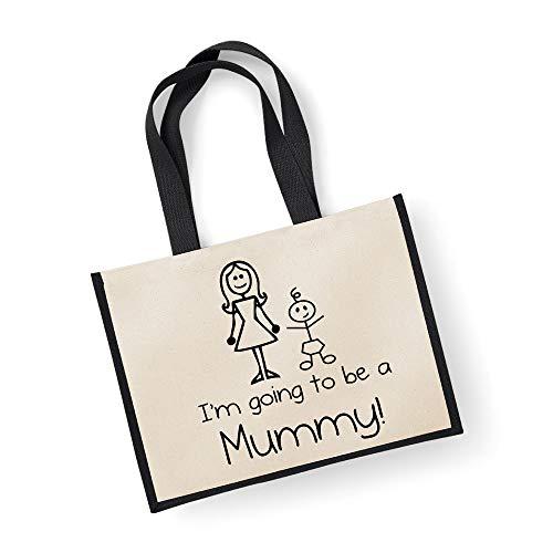 Grand sac de jute I'm Going To Be A Mummy Sac Noir fête des mères Nouvelle Maman anniversaire Cadeau de Noël