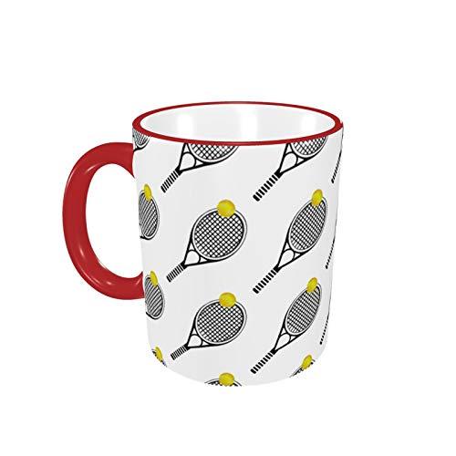 Funny Coffee Mug Tea Cup For Men Women Simple Tennis Racket Ball Sports Gift For Everybody White Fine-Bone Ceramic 11 Oz