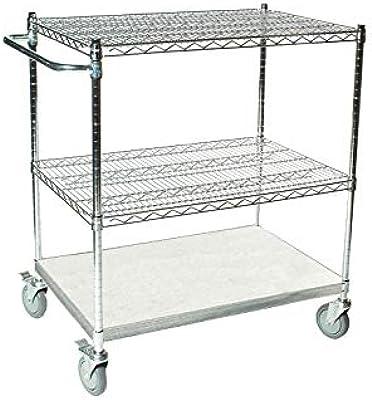 055ff0ff7712 Amazon.com - HOMCOM 24-in. Portable Rolling Wire Shelf Wood-Top ...