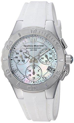 Technomarine Women's Cruise Stainless Steel Quartz Watch with Silicone Strap, White, 22.7 (Model: TM-115083)