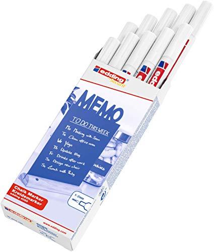 edding Kreidemarker 4085 - weiß - 10 Kreidestifte - Rundspitze 1-2mm - Feuchtwischstift mit feiner Spitze für Kreidetafeln, Fenster, Glas, Spiegel - Flüssigkreide-Marker für deckende Abdeckung