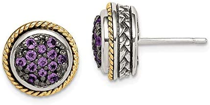 Solid 925 Sterling Silver 14k Yellow Gold Accent Amethyst Purple February Gemstone Studs Earrings product image