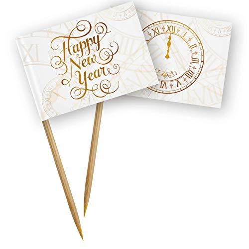 Folat 04449 50 Party Picks weiß mit Gold-Aufdruck Happy New Year