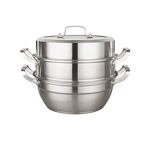 Voedselstomer, RVS grote kookpot met deksel, diameter 28 cm, 2 lagen, 3 lagen Gourmet antiaanbakpot en stomer Modern design A Kleur