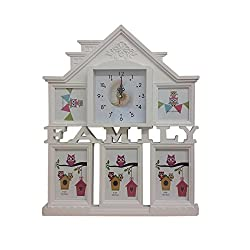 Collage Photo Frame with Wall Clock, White Family House Design 5 Slots for Pictures 3 4by 6 and 4 by 4