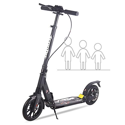 Scooter de 2 ruedas con sistema de plegado fácil en 3 segundos y ruedas grandes de 8 pulgadas Manillar con barra en T de cubierta extra ancha Suspensión delantera y trasera y sistema de frenos de di