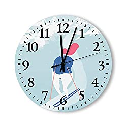 Round Wood Hanging Wall Clock Farmhouse Wall Clock Modern Cartoon Cross Country Skiing Alpine Skiing Illustration Light Blue Decorative Modern Wall Clock for The Living Room Kitchen Bedroom Patio