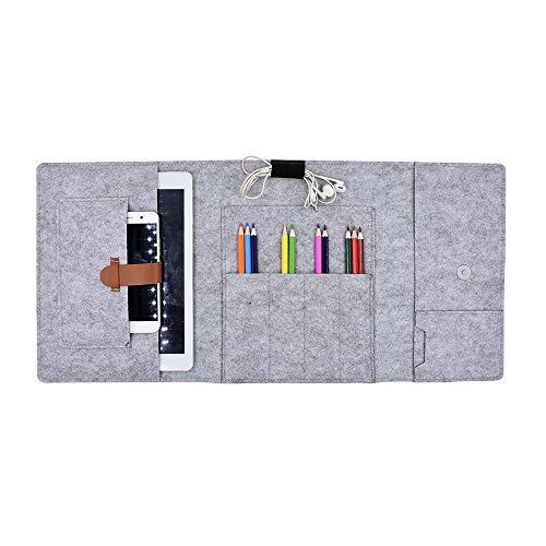 Funyu Federmäppchen Filz Mäppchen Organizer Große Faltbar Stifteetui 10.5 Zoll iPad Smartphone iPhone Hülle Schutz Tasche Handytasche für Erwachsene Studenten