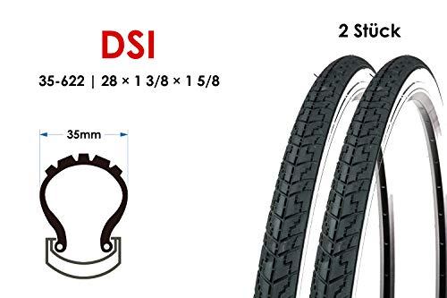 2 Stück 28 Zoll Fahrrad Reifen 35-622 City Trekking 28x1 5/8x1 3/8 Mantel Tire schwarz Weiss B-Ware